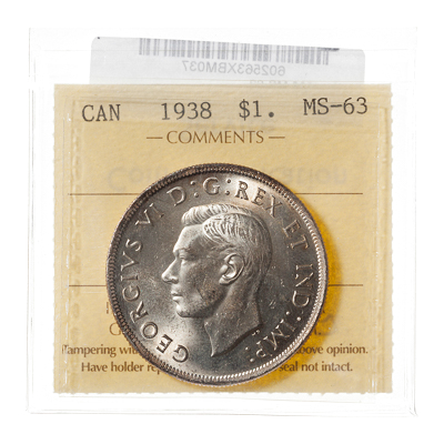 1 Dollar 1938  ICCS MS-63