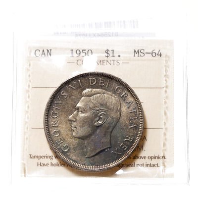 1 Dollar 1950 FWL ICCS MS-64