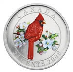 25C 2008 Colourised Coin - Northern Cardinal