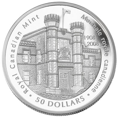 $50 2008 Fine Silver Coin - 100th Anniversary of the Royal Canadian Mint