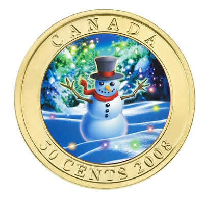 50c 2008 Coin - Holiday Snowman