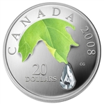 $20 2008 Fine Silver Coin - Crystal Raindrop