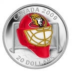 $20 2008/2009 NHL Team Goalie Mask Coins - Ottawa Senators