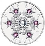 $20 2008 Fine Silver Coin - Crystal Snowflake - Amethyst