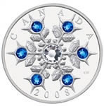 $20 2008 Fine Silver Coin - Crystal Snowflake - Sapphire