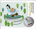 50c 2010 Vancouver Mascots Collector Cards - Sport Poses - Quatchi & Miga Figure Skating