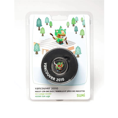 50 cent Vancouver 2010 Paralympics Mascot Coin and Puck - Ice Sledge Hockey - Sumi