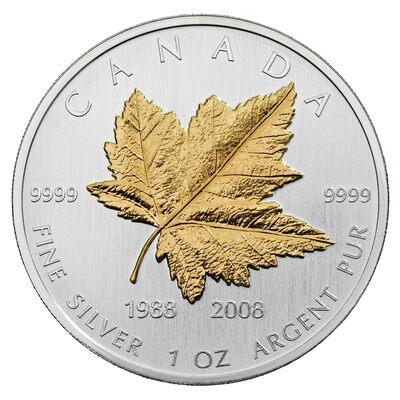 $5 2008 Fine Silver Coin - 20th Anniversary of the Silver Maple Leaf