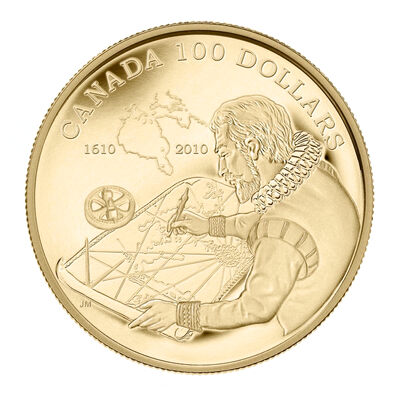 $100 2010 14-Karat Gold Coin - 400th Anniversary of The Discovery of Hudson's Bay