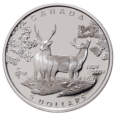 $5 2009 Sterling Silver Coin - 80th Anniversary of Canada in Japan