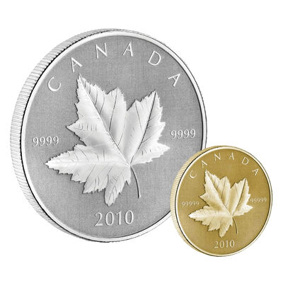 $5 and $10 2010 1/5 oz Pure Gold and 1 oz Silver Maple Leaf Piedfort Set