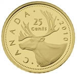 25c 2010 0.5g Fine Gold Coin - Caribou
