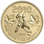 $5 2010 Fine Silver Coin - Canadian Olympic Hockey Gold