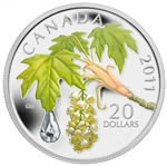 $20 2011 Fine Silver Coin - Maple Leaf Crystal Raindrop