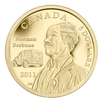 $5 2011 1/10 oz Gold Coin - 75th Anniversary of Dr. Norman Bethune's Invention of the World's First Mobile Blood Transfusion Vehicle