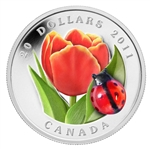 $20 2011 Fine Silver Coin - Tulip with Ladybug