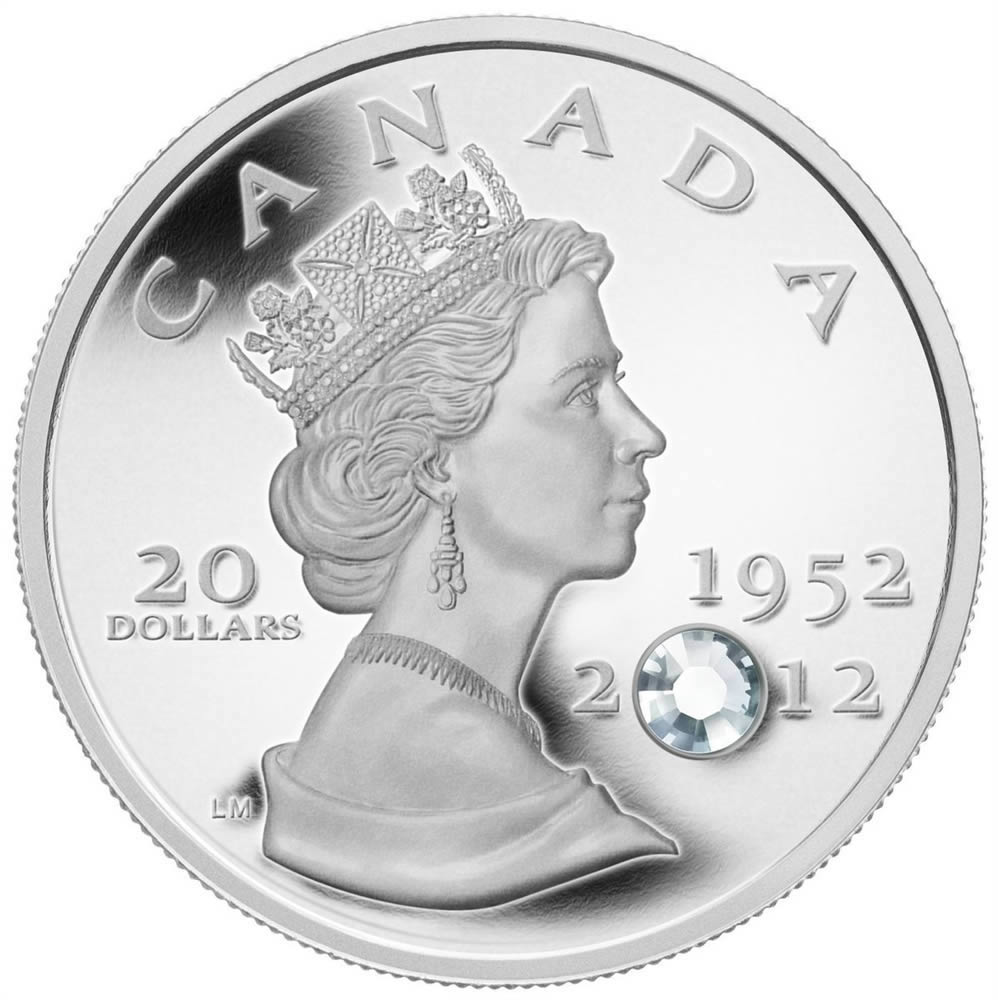 01c183554 $20 2012 Fine Silver Coin with Crystal - The Queen's Diamond Jubilee ...