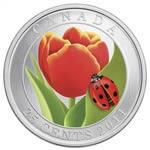 25c 2011 Coloured Coin - Tulip with Ladybug
