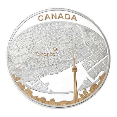 $25 2011 Fine Silver Coin - Toronto City Map