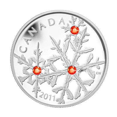$20 2011 Fine Silver Coin - Hyacinth Red Small Crystal Snowflake