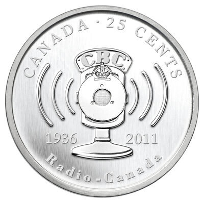 25c 2011 Coin - 75th Anniversary of CBC/Radio-Canada