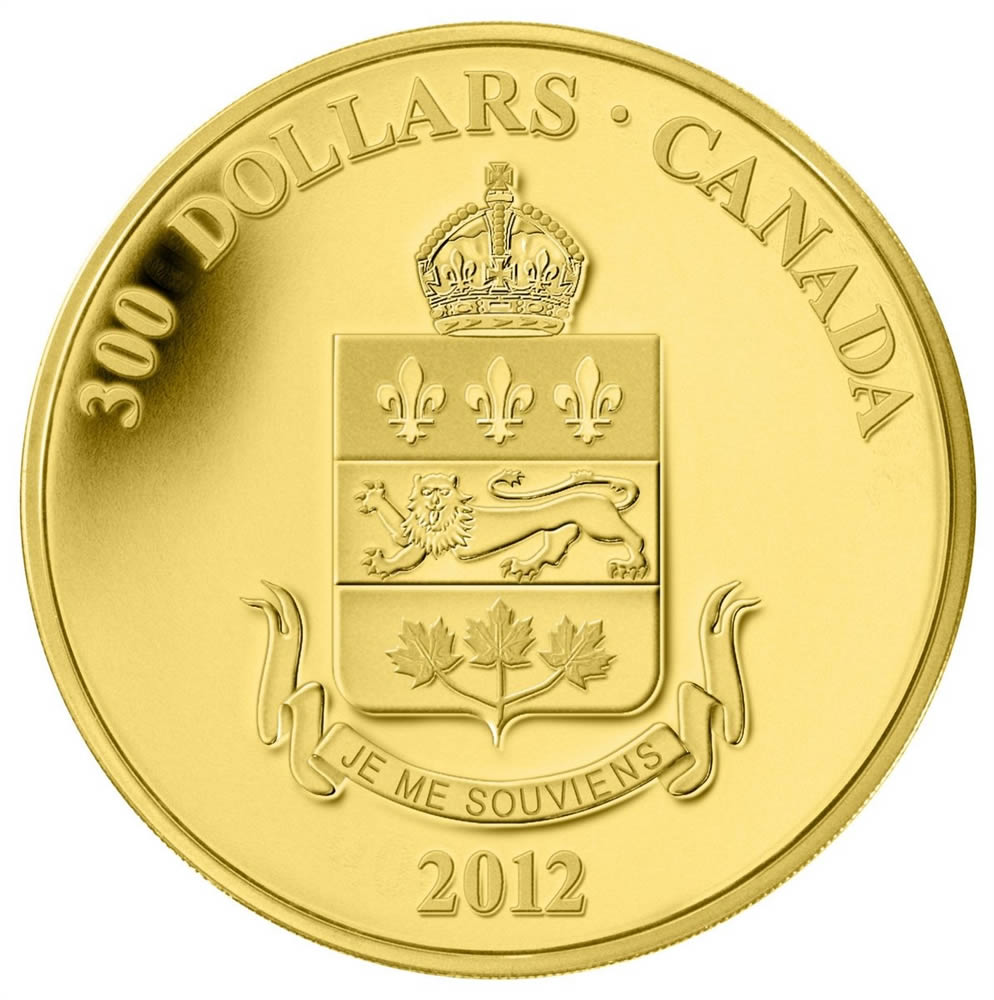 2012 $300 Provincial Coat of Arms: Quebec - 14-kt  Gold Coin