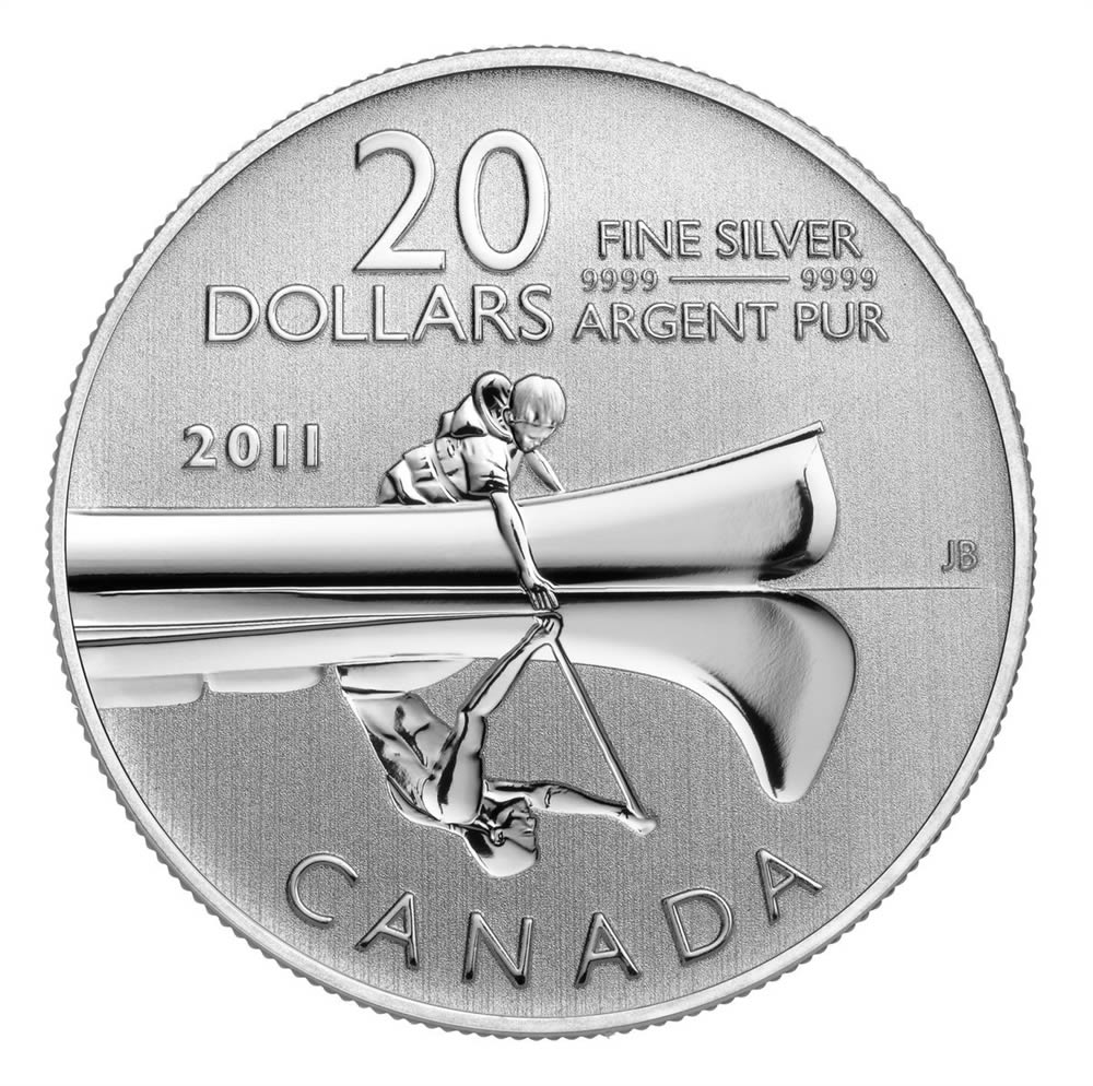 20 2011 Pure Silver Coin Canoe Royal Canadian Mint Coins
