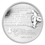 $5 2012 Fine Silver Coin - 25th Anniversary of the Rick Hansen Man-In-Motion Tour