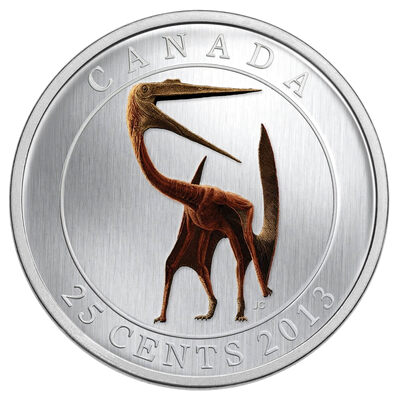 25c 2013 Coloured Coin - Prehistoric Animals - Quetzalcoatlus (Glow in the Dark Dinosaur Coin)