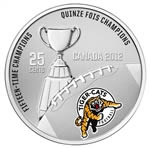 25c 2012 Cupronickel Coloured Coin - Hamilton Tiger-Cats with Stamps