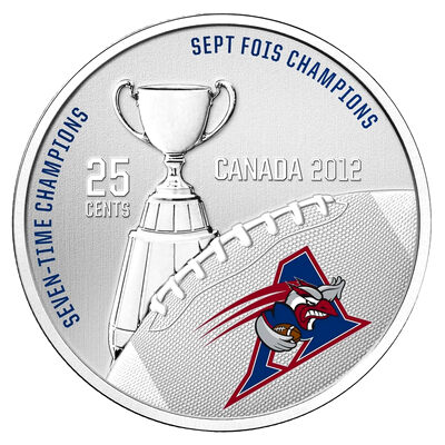 25c 2012 Cupronickel Coloured Coin - Montreal Alouettes with Stamps