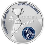 25c 2012 Cupronickel Coloured Coin - Toronto Argonauts with Stamps