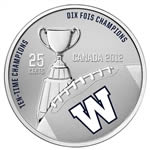 25c 2012 Cupronickel Coloured Coin - Winnipeg Blue Bombers with Stamps