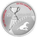 25c 2012 Cupronickel Coloured Coin - Calgary Stampeders with Stamps