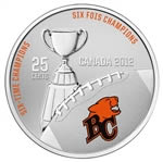 25c 2012 Cupronickel Coloured Coin - BC Lions with Stamps