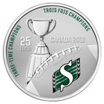 25c 2012 Cupronickel Coloured Coin - Saskatchewan Roughriders with Stamps