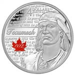 $4 2012 Fine Silver Coin - Heroes of 1812 - Tecumseh