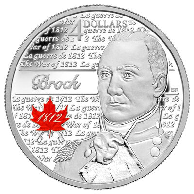 $4 2012 Fine Silver Coin - Heroes of 1812 - Sir Isaac Brock