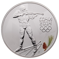 2014 3 Roubles Russia Sochi: Biathlon - Sterling Silver Coin