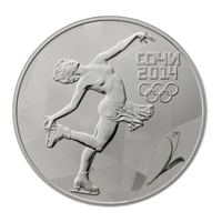 2014 Russia Sochi 3 Roubles Figure Skating - Sterling Silver Coin