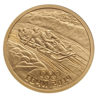 2014 Russia Sochi 50 Roubles Gold Coin - Bobsleigh