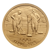 2014 Russia Sochi 50 Roubles Gold Coin - Curling
