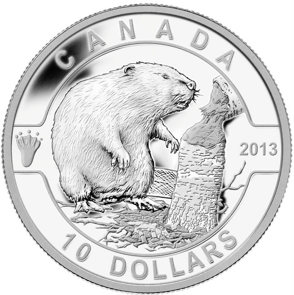 10 2013 Fine Silver Coin O Canada Series The Beaver