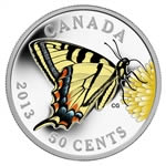 50c 2013 Silver Plated Coin -  Butterflies of Canada: Canadian Tiger Swallowtail