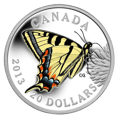 $20 2013 Fine Silver Coin - Butterflies of Canada: Canadian Tiger Swallowtail