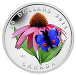 $20 2013 Fine Silver Coin - Purple Coneflower with Venetian Glass Butterfly