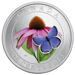 25c 2013 Coloured Coin - Purple Coneflower and Eastern Tailed Blue Butterfly