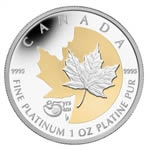 $300 2013 Platinum Coin with Selective Gold Plating - 25th Anniversary of the Platinum Maple Leaf