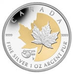 $5 2013 Fine Silver Coin with Selective Gold Plating - 25th Anniversary of the Silver Maple Leaf