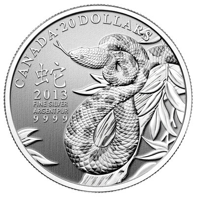 $20 2013 Fine Silver Coin - Year of the Snake